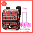 Rose red three wheel high foot pull rod bag