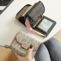 2020 new fashion Korean small wallet women's short leather women's Cowhide multi card card bag wallet