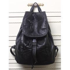 Soft leather backpack bag women's new washed sheepskin double shoulder bag net red leather women's bag leisure school bag