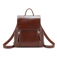 Women's backpack 2020 new leather women's bag fashion oil wax cowhide backpack women's schoolbag