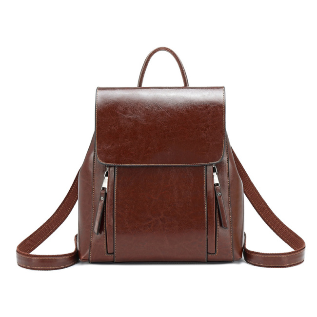 Women's backpack 2020 new leather women's bag fashion oil wax cowhide backpack women's schoolbag