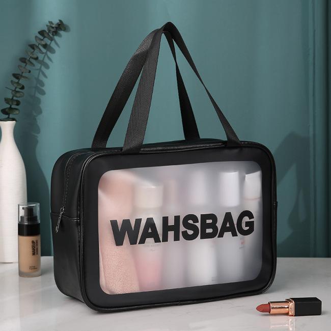 Pu transparent 3-piece cosmetic wash bag large capacity PVC bath bag translucent frosted portable storage bag