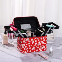 Version multi-functional portable Cosmetic Case Cosmetic Beauty Nail Kit wrinkle chrysanthemum storage box