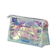 Waterproof colorful cosmetic bag Portable Travel Toiletries zipper storage bag PVC laser cosmetic bag customized