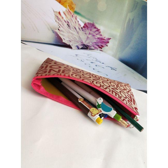 Korean leisure bag lettered jacquard makeup bag horizontal square type hand hold make up bag multi functional women's bag