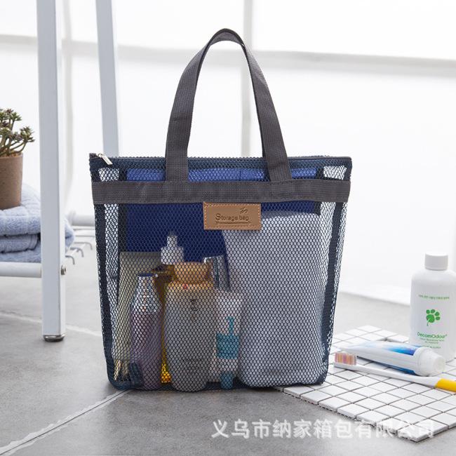 Factory wholesale new summer travel storage net cloth beach wash bag make up bag handbag mesh bag