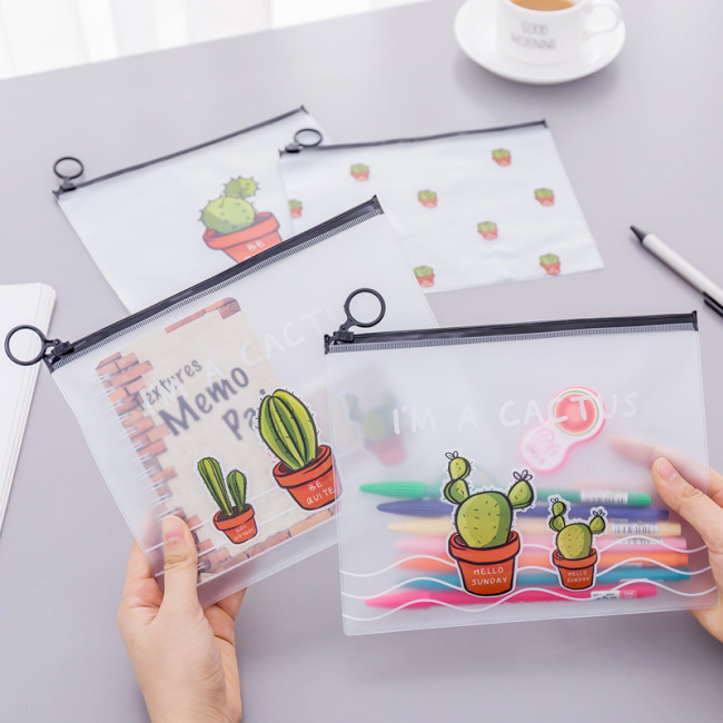 Korean Stationery small fresh transparent frosted cactus ring storage bag large capacity student stationery pencil bag