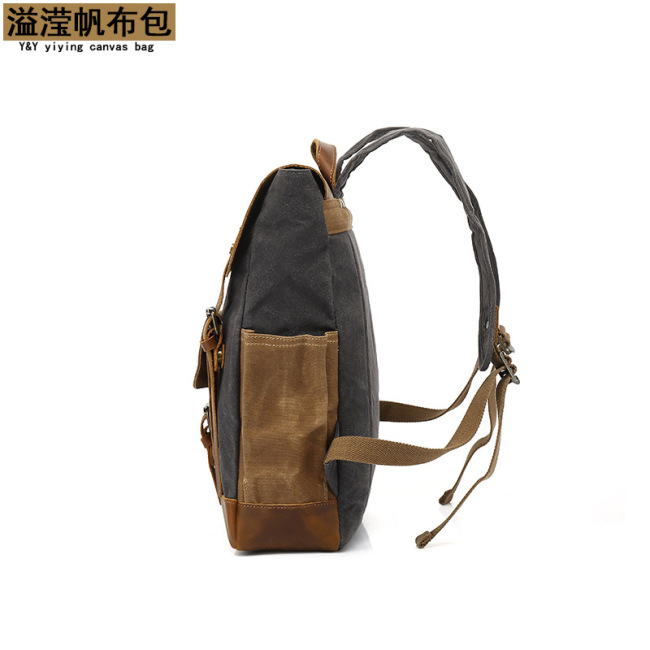 Manufacturer's cross border source Canvas Backpack men's outdoor sports mountaineering bag travel backpack student schoolbag customization