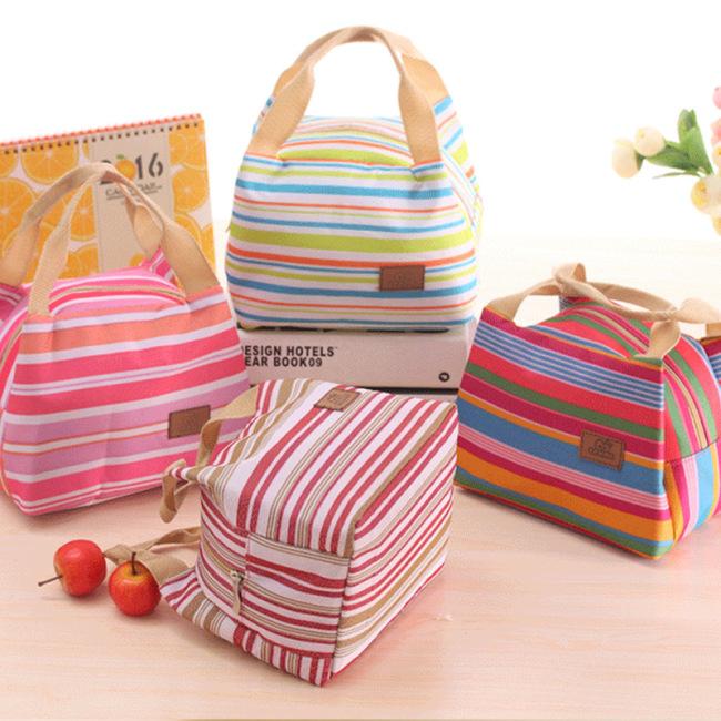 Art blue factory direct Korean version lovely cold insulation bag picnic bag stripe lunch bag with zipper lunch box bag