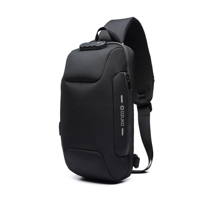 New chest bag USB anti theft men's chest bag men's shoulder bag waterproof messenger bag customization