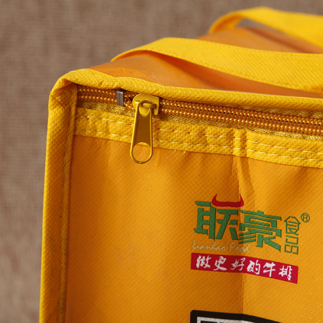 Manufacturer customized non-woven insulation bag customized take out restaurant zipper insulation bag wholesale portable single shoulder ice bag