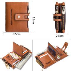 Factory supply double zipper buckle men's Wallet Leather Vintage Crazy Horse cowhide men's bag leisure Wallet
