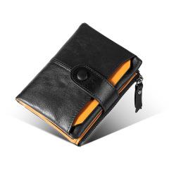 New men's wallet leather anti theft brush RFID top layer cowhide Wallet