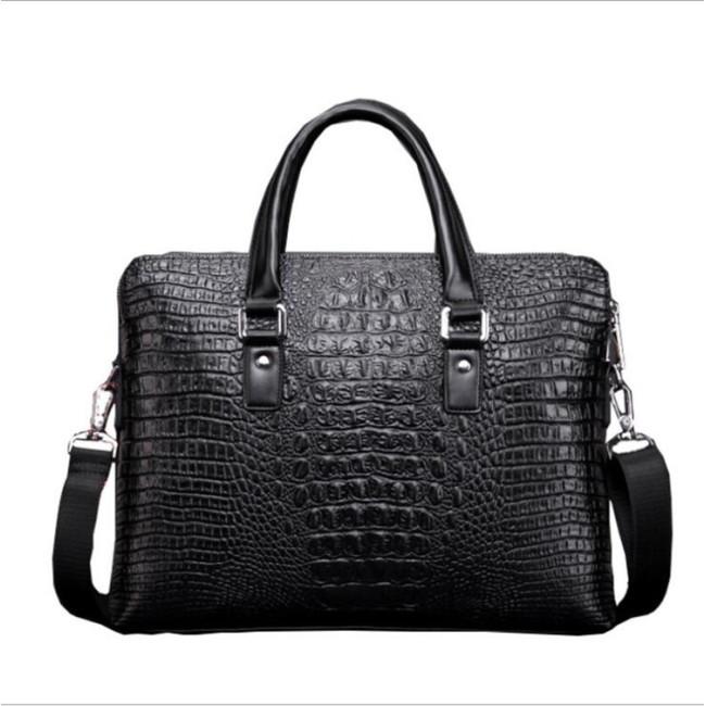 2020 new men's bag crocodile double pull handbag men's business briefcase fashion straddle one shoulder computer bag