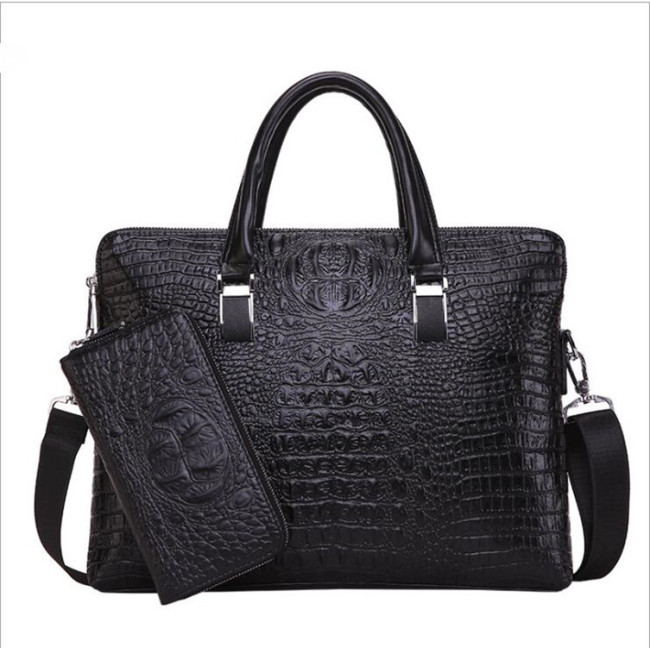 2020 new men's bag crocodile double pull handbag men's business briefcase fashion straddle one shoulder computer bag