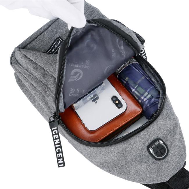 A chest bag men's Messenger Bag Canvas Shoulder Bag men's Korean fashion straddle chest bag leisure backpack