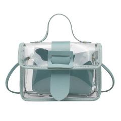 Small fresh women's bag 2020 summer new transparent bag fashion small square bag single shoulder straddle bag simple bag
