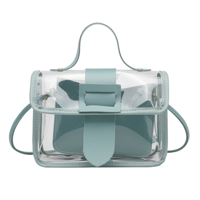 Small fresh women's bag 2020 summer new transparent bag fashion small square bag single shoulder straddle bag simple bag