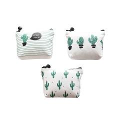 Factory direct sales Canvas triangle cactus pocket change small fresh canvas pocket key bag wholesale customization