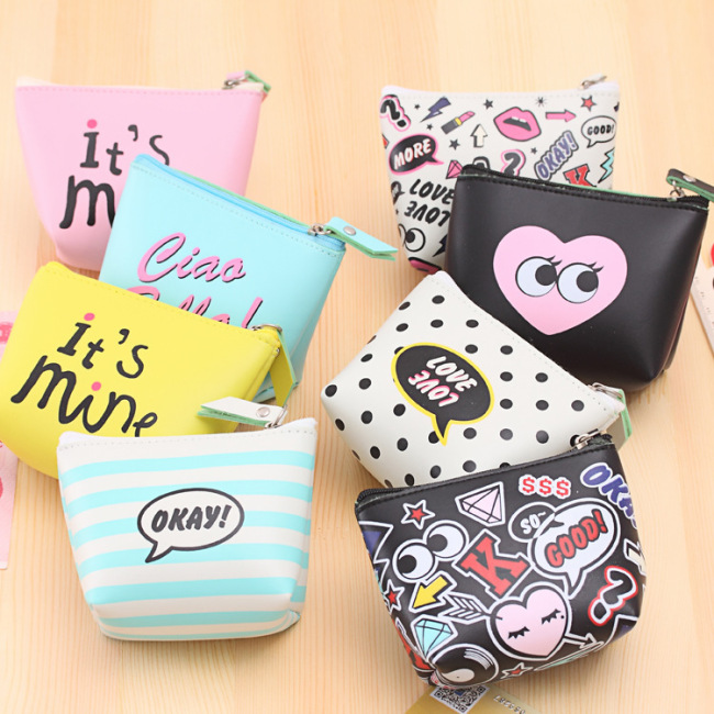 New modern girl small change purse fashion cartoon waterproof coin key bag PU leather storage bag wholesale