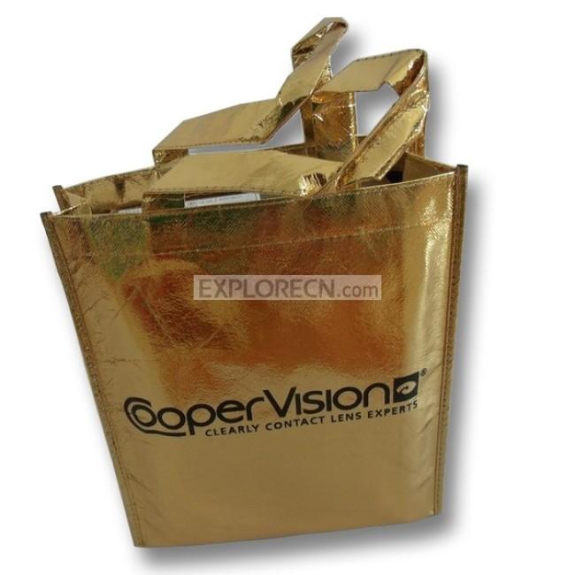 Golden laminated non-woven shopping bag