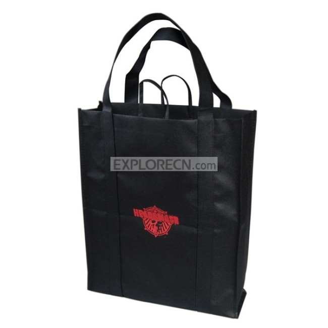 Black non-woven tote bag with strong handle