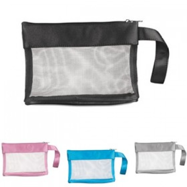 Satin polyester zipped cosmetic bag