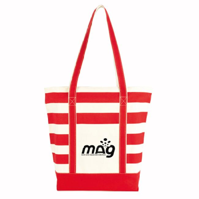 Trendy Striped Cotton Tote Bags