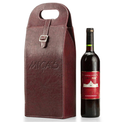 Dual Leather Wine Carrying Tote