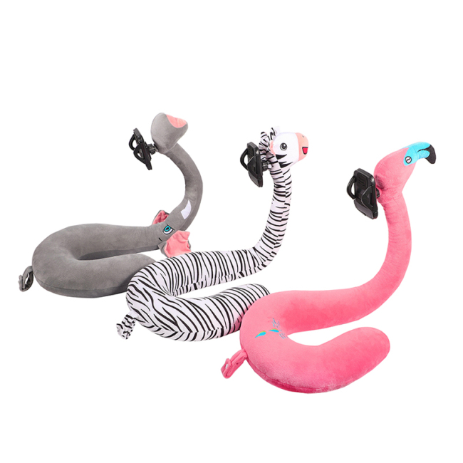 Cartoon  U Shape Travel Neck Pillow  Phone Holder Neck Pillow Free Your Hand