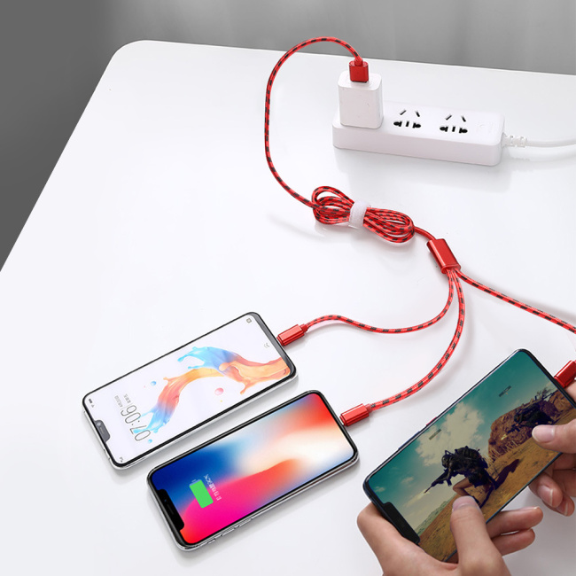 PCER cellphone wire 3 in 1 Data Cord Three-in-one Fast charge Android Type-C Data Cable Mobile phone charging cable