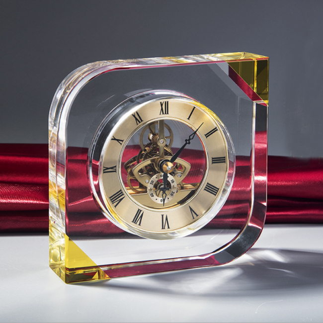 Personalized custom SQUARE K9 crystal table clock for home decoration