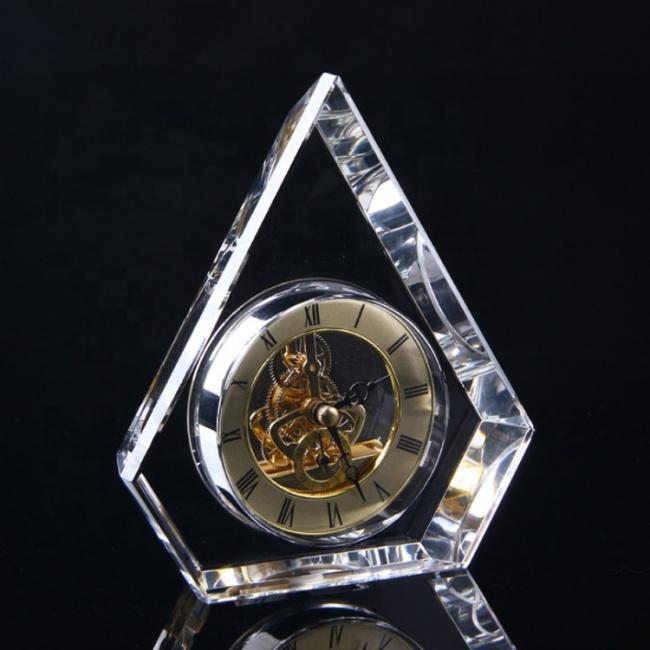 custom 3d laser engraving logo transparent mechanical office desk crystal clock
