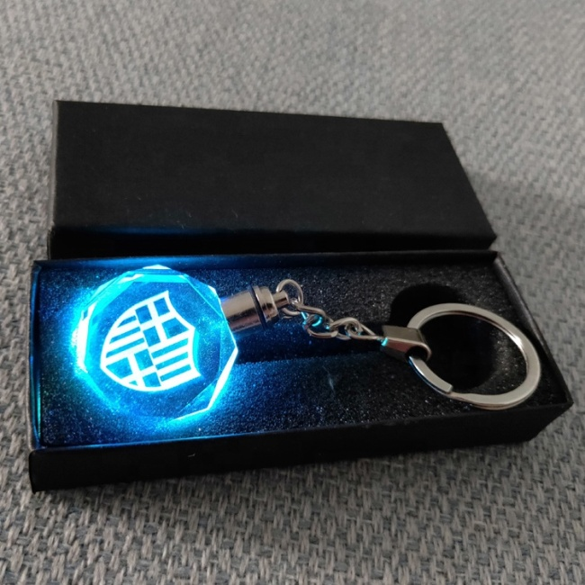 Credit guarantee Custom 3D Laser Engraving Football team logo LED light crystal Glass Keychain for Souvenir gift