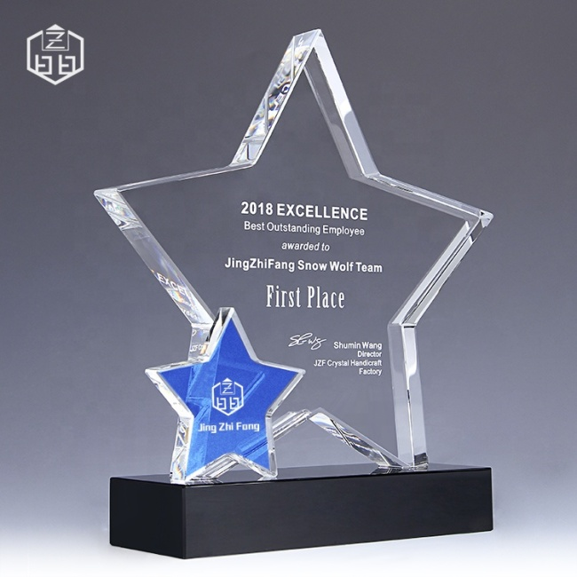 Personalized Customize 2019 Beveled Glass New Product Creative Decoration With Star Crystal Gift Souvenir Trophy