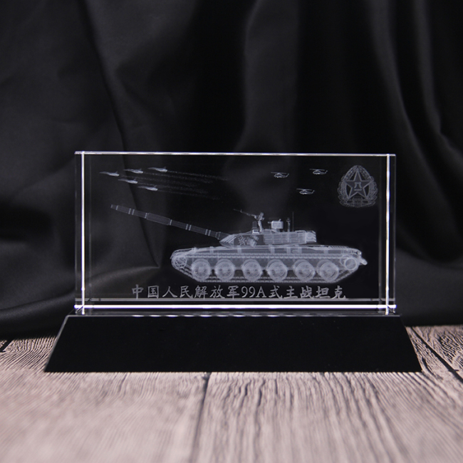 custom Laser engraved 3D Tank aircraft model K9 crystal cube for Crafts souvenirs