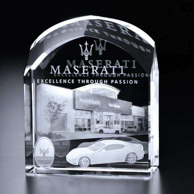 High quality crystal trophy awards for 3D laser engraving for arch car dealership barrington award