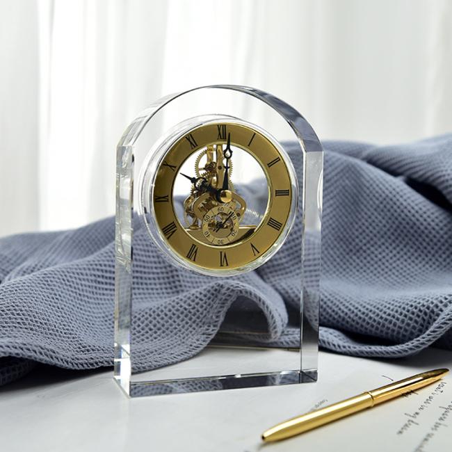 High quality Gate shape K9 crystal table clock custom logo home decoration table crystal clock