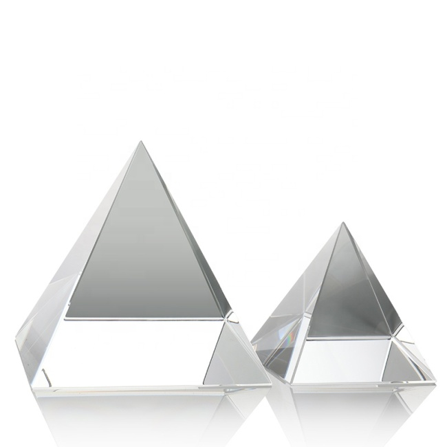 Multicolor crystal pyramid Paperweight custom 3D Laser Engraving Crystal Pyramid for Business gifts
