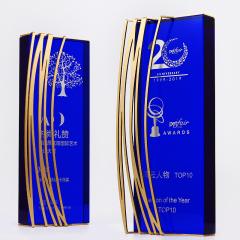 Custom High Quality Blue Award Crystal Trophy with Golden Metal Decor