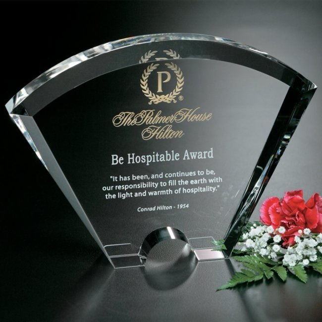 High quality crystal trophy awards fantasy awards fan shaped trophy for engraving for corporation gifts