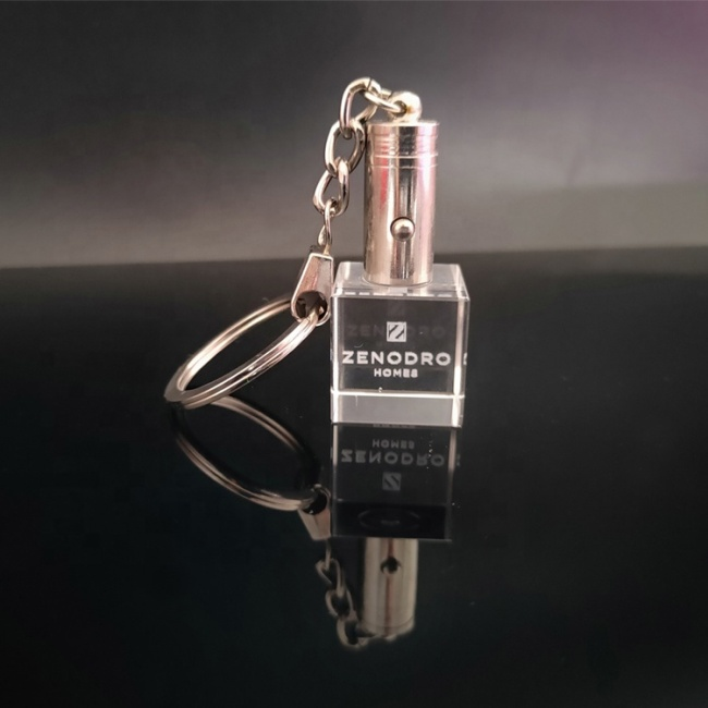 fancy square special design 3d laser engraving crystal keychain cube Custom