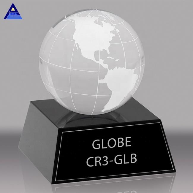Office Decoration World Map Sandblasting K9 Trophy Crystal Globe