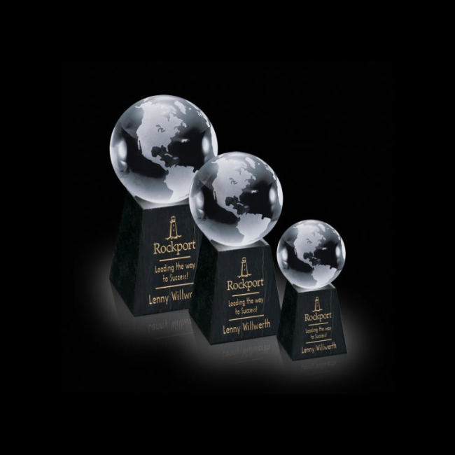 Decorative Round Ball Shaped Clear Glass World Globe Award on Tall Marble Crystal Earth Globe award trophy
