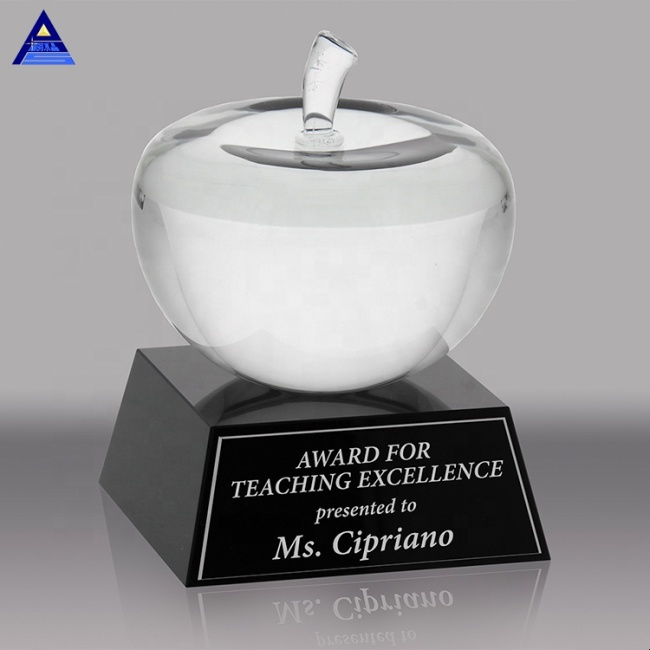 Logo Printed Unique Shape Clear K9 Glass Crystal Apple Paperweight For Teachers Birthday Love Gifts
