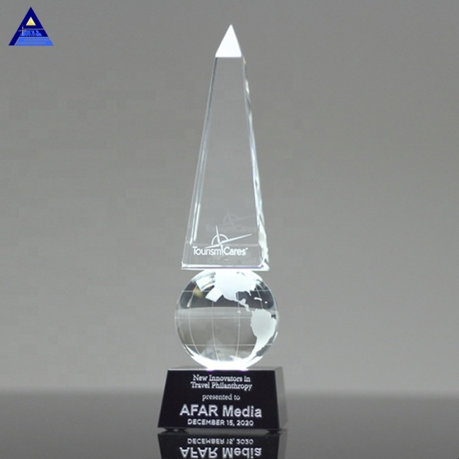 Customized Crystal Monumental Globe Obelisk Trophy For Company Corporate Awards