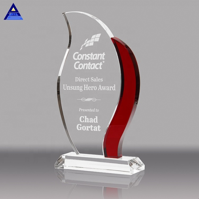 Custom 3D Laser Engrave Flame Shaped Trophies With Red Accent For Corporate Gifts