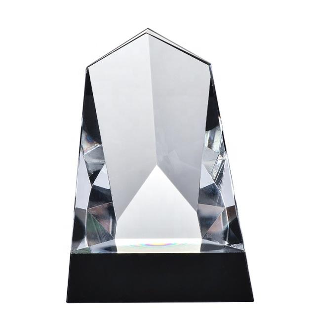Various Styles Unique Mountain Shape Laser Clear Blank Crystal Trophy Award Souvenir