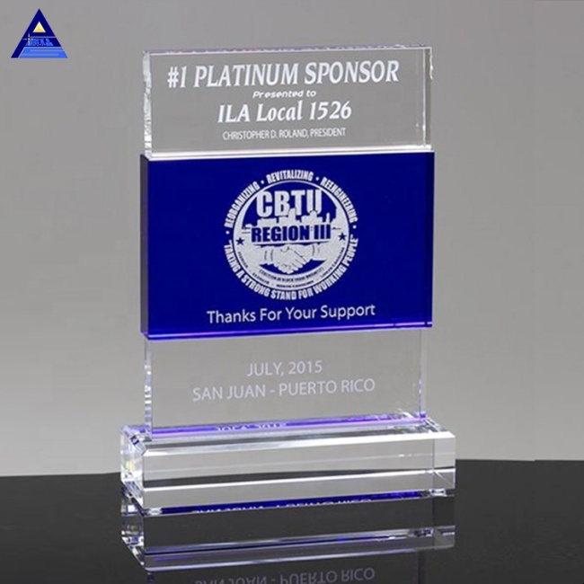 Custom Cheap Sapphire Ascent Coloured Glaze Crystal Trophy With Blank Base