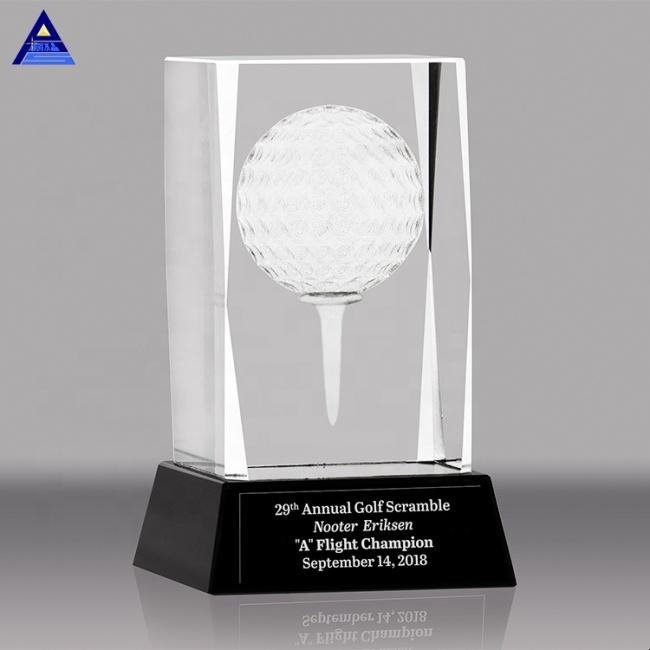 Antique Design Engraved 3D Laser Golf Crystal Cube K9 Crystal Cube With Black Base